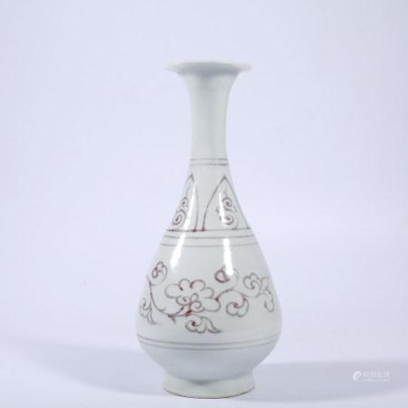 Yuan Dynasty underglaze red jade pot spring bottle