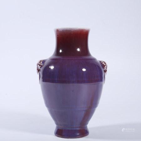Qing Dynasty Qianlong imitation furnace Jun glaze double ear jar