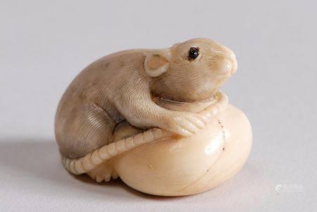 Trois netsuke en ivoire représentant respectivement un rat fouillant dans un sac; un lapin sur