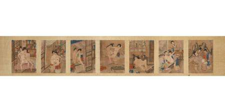 Seven erotic scenes, China early 19th century, painted on silk