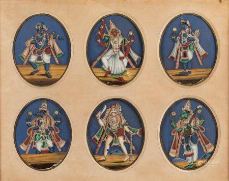 Twelve oval miniatures depicting divinities, India Tamil - Nadu, late 19th - early 20th century