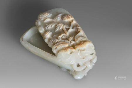 Jade box carved with peonies, peaches and bats, China, Qing dynasty, 19th century
