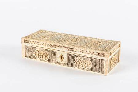 Ivory box, Canton early 20th century