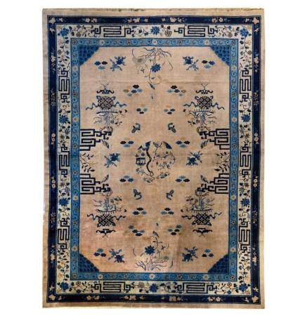 White and blue carpet with floral motifs, China, 20th century