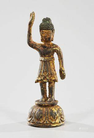 KOREAN GILT BRONZE STANDING FIGURE OF BUDDHA