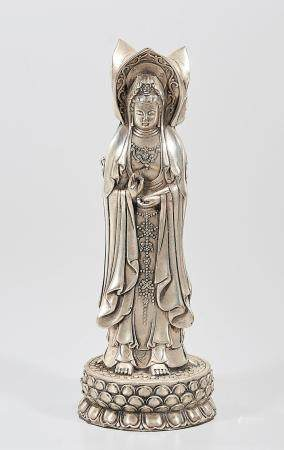 CHINESE SILVER PLATED TRIPLE GUANYIN
