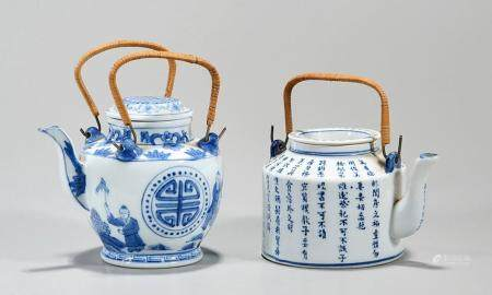 TWO CHINESE BLUE AND WHITE PORCELAIN TEA POTS