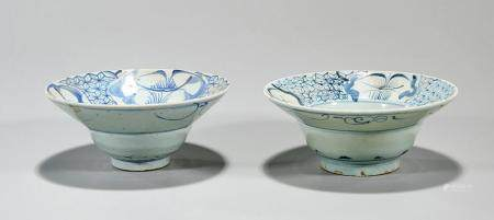 TWO ANTIQUE CHINESE BLUE AND WHITE PORCELAIN BOWLS