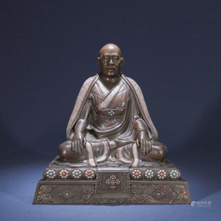 清 铜制上师像