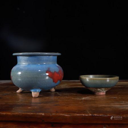 元 窑变釉三足炉、钧窑茶盏