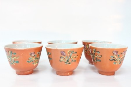 Six Chinese Famille Rose Porcelain Cups,Mark