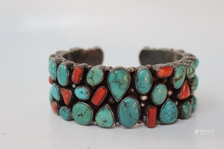 Chinese Bangle w Turquoise&Coral