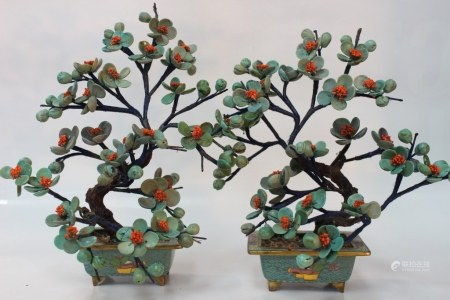 Pair of Chinese Turquoise Cloisonne Planter