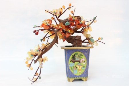 Chinese Cloisonne Tree Planter w Agate