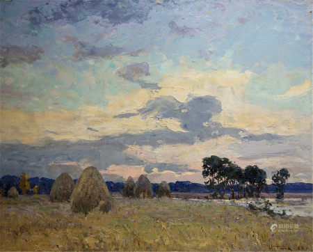 TYUKHA IVAN ANDREEVICH Oil painting Evening landscape