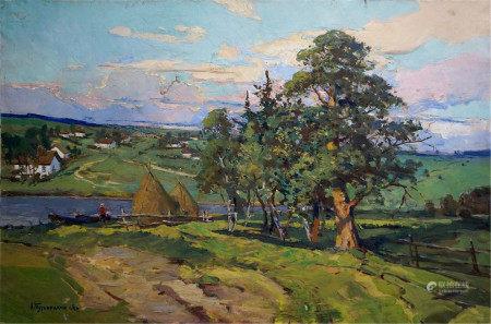 TUROVETSKY LEONID MARKOVICH Oil painting Rural landscape