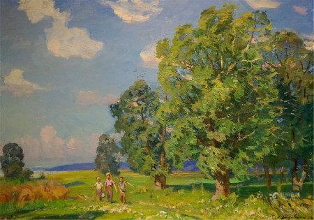 KHODCHENKO LEV PAVLOVICH Oil painting Walk through the woods