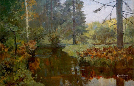 RUDOLPH RUDOLFOVICH FRENTS Oil painting Forest stream