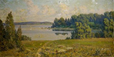 ZEMSKOV LEV NIKOLAEVICH Oil painting By the evening