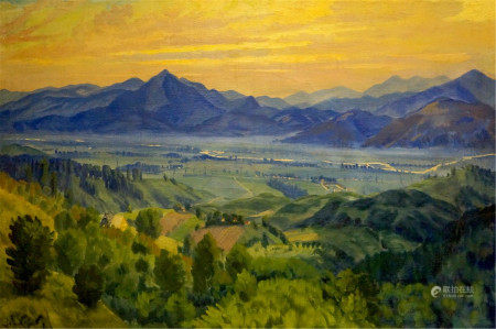 MANAILO FEDOR FEDOROVICH Oil painting Sunset landscape
