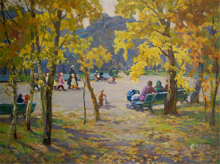 ELBERT VIKTOR DAVYDOVICH Oil painting Autumn in the park