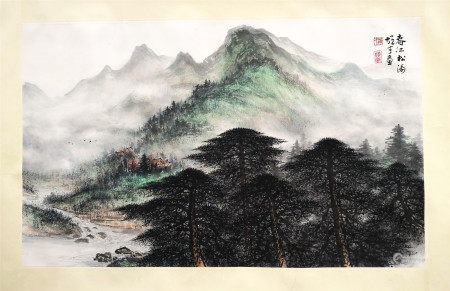 CHINESE SCROLL PAINTING OF MOUNTAIN VIEWS SIGNED BY LI XIONGCAI