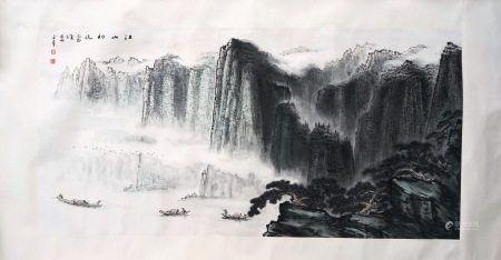 CHINESE SCROLL PAINTING OF MOUNTAIN VIEWS SIGNED BY CHEN JINZHANG
