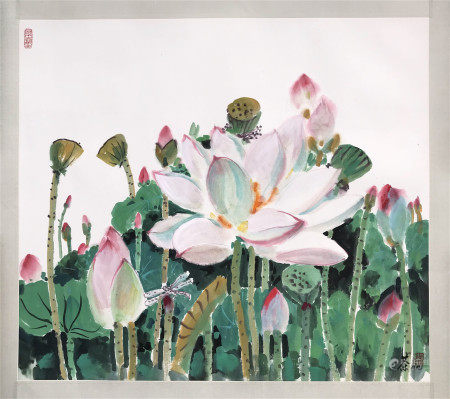 CHINESE SCROLL PAINTING OF LOTUS SIGNED BY WU GUANZHONG