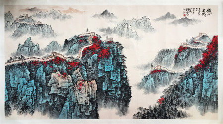LARGE CHINESE SCROLL PAINTING OF MOUNTAIN VIEWS SIGNED BY QIAN SONGYAN