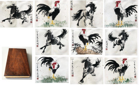 TEN PAGES OF CHINESE ALBUM PAINTING OF ANIMAL SIGNED BY XU BEIHONG