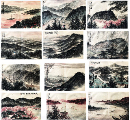TWEELVE PAGES OF CHINESE ALBUM PAINTING OF MOUNTAIN VIEWS SIGNED BY FU BAOSHI