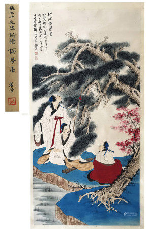 FROM PREVIOUS LAOSHE COLLECTION CHINESE SCROLL PAINTING OF MAN UNDER TREE SIGNED BY ZHANG DAQIAN