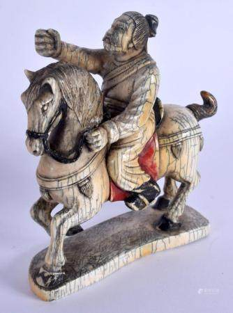 A 19TH CENTURY CHINESE CARVED PAINTED IVORY FIGURE OF A HORSE modelled with an attendant. 11 cm x 12.5 cm.