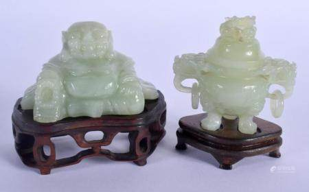 AN EARLY 20TH CENTURY CHINESE CARVED JADE FIGURE OF A BUDDHA Late Qing/Republic, together with censer. Largest 9 cm x 7 cm. (2)