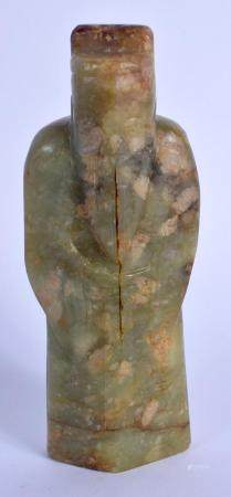 AN EARLY CHINESE CARVED GREEN RIVER JADE FIGURE OF AN IMMORTAL Ming/Qing, modelled wearing robes. 14.5 cm high.