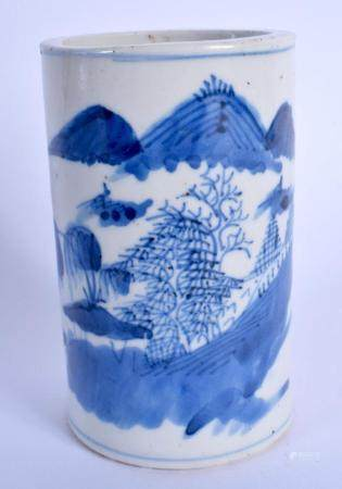 A 19TH CENTURY CHINESE BLUE AND WHITE PORCELAIN BRUSH POT BITONG Qing, painted with landscapes. 11 cm high.