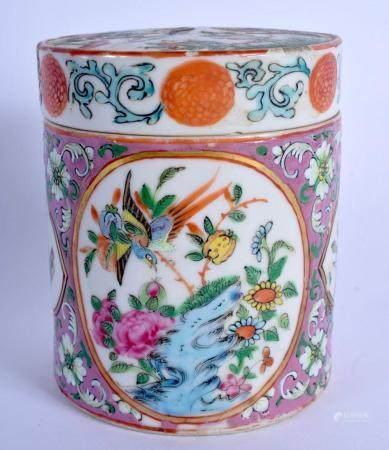 A 19TH CENTURY CHINESE CANTON ENAMEL TEA CADDY AND COVER Qing, painted with figures and landscapes. 16 cm high.