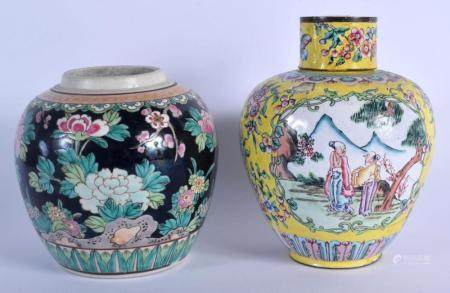 A 19TH CENTURY CHINESE FAMILLE ROSE STRAITS JAR AND COVER Qing, painted with flowers & a ginger jar. 12.5 cm high. (2)
