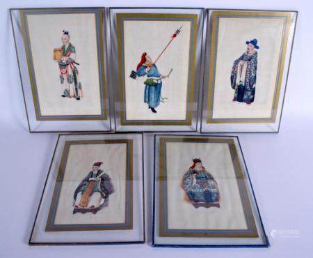 Chinese School (19th Century) Five Pith Papers, Figures in various pursuits. Image 24 cm x 16 cm. (5)