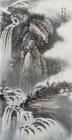 王建一  岩上觀瀑