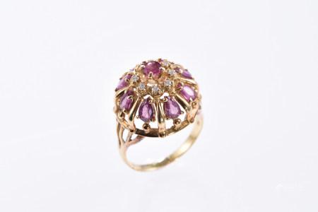 粉色藍寶石18K金戒指
