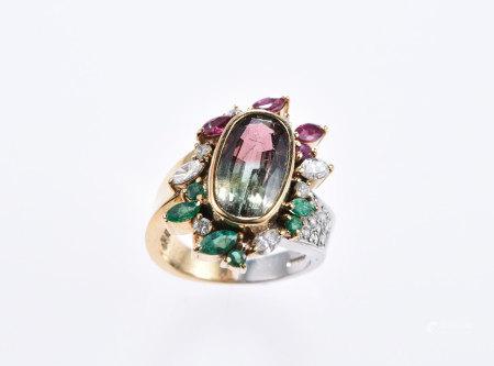 雙色寶石18K金鉑金戒指
