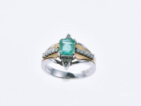 綠剛石18K鉑金戒指