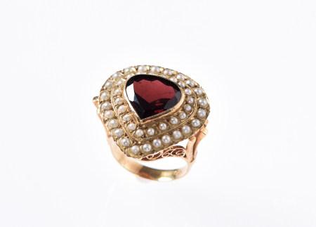 紅石榴石18K金戒指