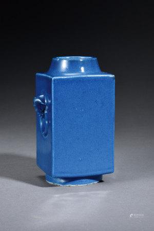 清 藍釉象耳琮式瓶