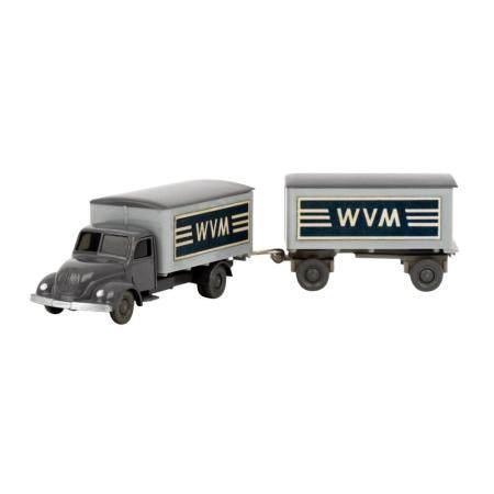 WIKING Magirus WVM, alter Koffer-LKW mit Anhänger 1961-62,
