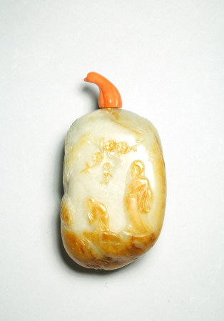 A FINE WHITE AND RUSSET JADE 'SCHOLAR AND PLUM BLOSSOM' SNUFF BOTTLE