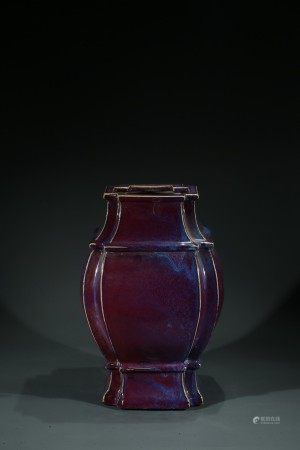 A LARGE CHINESE FLAMBE GLAZED VASE