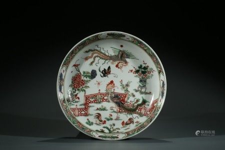 A CHINESE FAMILLE VERTE 'PHOENIX' CHARGER