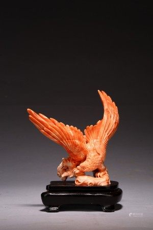 A CHINESE CORAL 'EAGLE' CARVING
